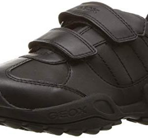 Geox New Savage BOY 10 Durable Velcro Sneaker, Black Oxford