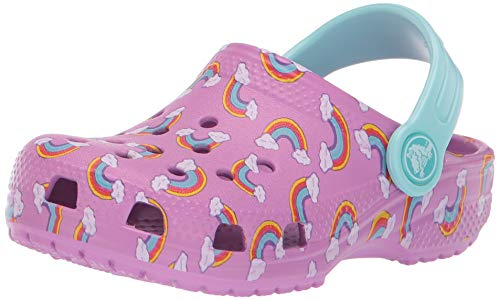 Crocs Kids' Classic Seasonal Graphic Rainbows Clog, Violet