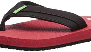 Sanuk Kids Boys' Root Beer Cozy Light Flip-Flop, Black/red