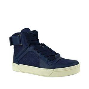 Gucci Men's Nylon Guccissima High-Top Sneaker, Blue