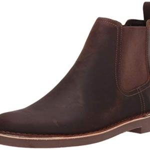 CLARKS Men's Bushacre Hill Chelsea Boot, Dark Brown Leather
