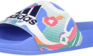adidas Adilette Shower Slide Sandal, Dark Blue/Real Pink