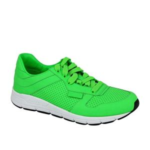 Gucci Running Neon Green Leather Lace up Sneakers