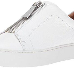 FRYE Women's Lena Zip Low Fashion Sneaker, White Tumbled Cow