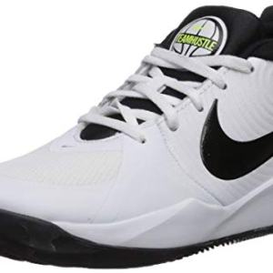 Nike Unisex-Kid's Team Hustle D 9 (GS) Sneaker, White/Black - Volt