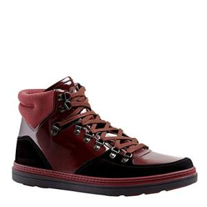 Gucci Contrast Combo Dark Red Patent Leather/Suede High top Sneaker