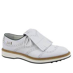 Gucci Brogue Fringed White Leather Oxford Golf Shoes
