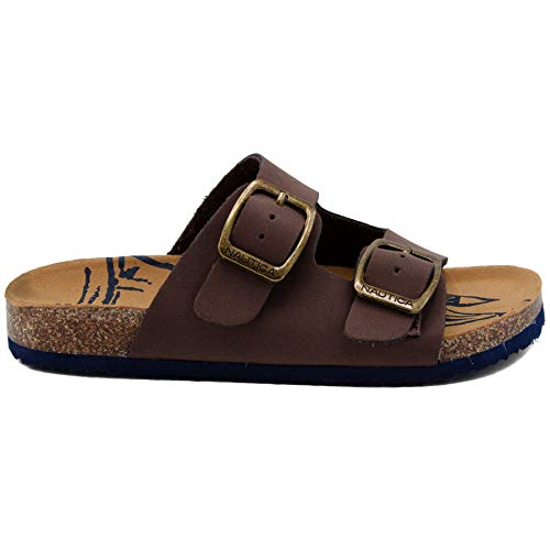 Nautica Kids Grant Youth Open Toe Sandal 2 Buckle Straps Comfort Slide Nautica Kids Grant Youth Open Toe Sandal 2 Buckle Straps Comfort Slide Outdoor Sport Casual Sandals-Chocolate-2.