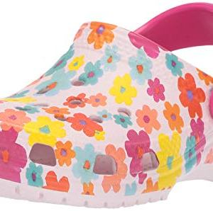 Crocs Kids' Classic Seasonal Graphic Floral Clog, Barely Pink