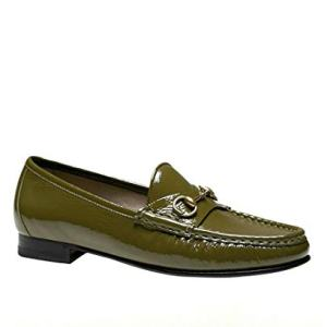 Gucci Women's Olive Green Patent Leather Horsebit Loafer