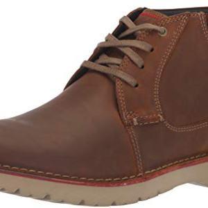 Clarks Men's Vargo Mid Ankle Boot, Dark Tan Leather