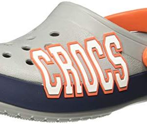 Crocs Crocband Logo Clog, Light Grey/Navy