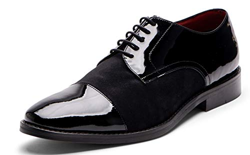 Carlos Santana WEST Men's Designer Cap-Toe Tuxedo Oxford Wedding Dress Shoe