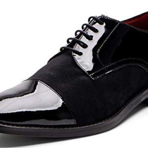 Carlos Santana WEST Men's Designer Cap-Toe Tuxedo Oxford Wedding Dress Shoe