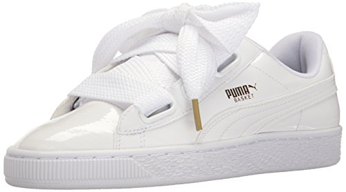 PUMA Women's Basket Heart Patent WN's Sneaker, White