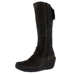FLY London Womens Yust Winter Oil Suede Wedge Diesel Boots Knee Highs
