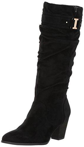 Dr. Scholl's Shoes Women's Devote Riding Boot, Black Microfiber Suede