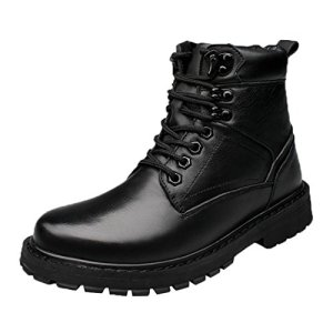 Modern Fantasy Mens Black Shoes Leather Fur Trekking Soft Toe Boot
