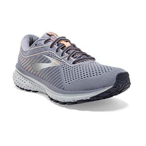 Brooks Womens Ghost 12 Running Shoe - Granite/Peacoat/Peach