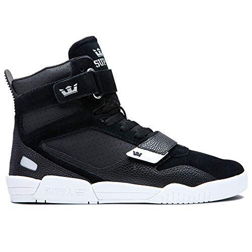 Supra Footwear - Breaker High Top Skate Shoes, Black/Silver-White