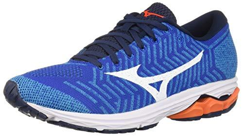 Mizuno Men's Wave Rider Knit Running Shoe, nautical blue-red orange