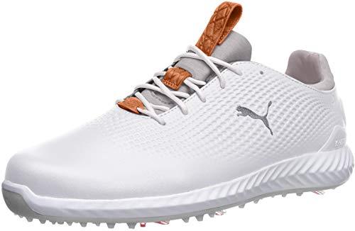 PUMA Golf Men's Ignite Pwradapt Leather Golf Shoe, White/White