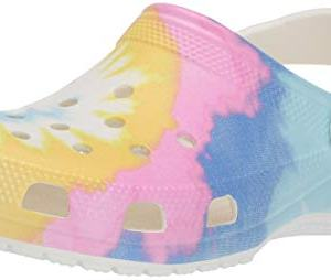 Crocs Women's Classic Tie Dye Graphic Clog, White/Multi, 9 US Women / 7 US Men