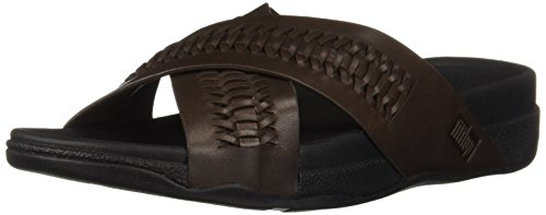 FitFlop Men's Surfer Slide in Woven Leather Flip-Flop, Chocolate Brown