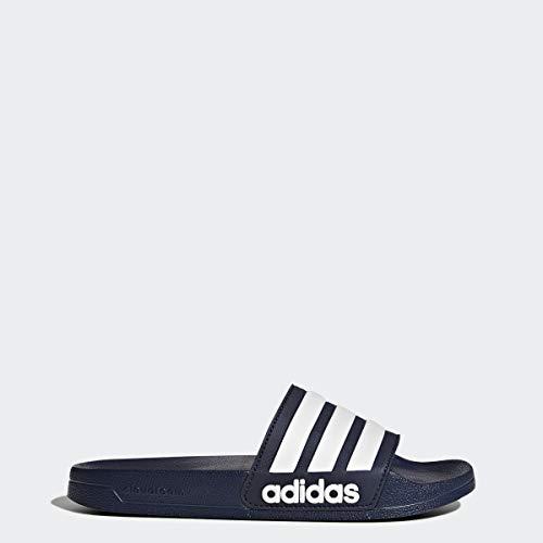 adidas Men's Adilette Shower Slide Sandal, White/Collegiate Navy, 8 M US