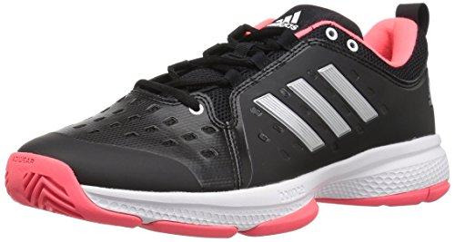 adidas Men's Barricade Classic Bounce Tennis Shoe, Black/Matte Silver/Flash Red