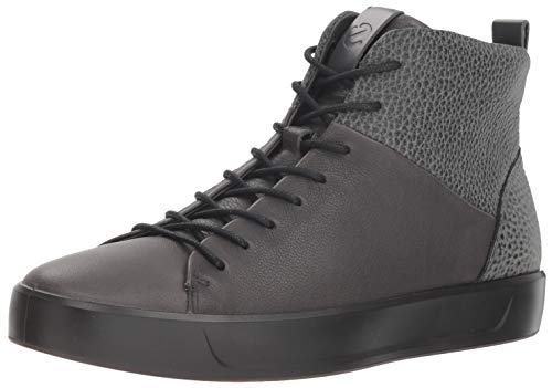 ECCO Men's Soft 8 High Top Fashion Sneaker, Magnet/Black Shine Bright