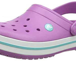 Crocs Crocband Clog | Comfortable Slip On Casual Water Shoe, Violet/White