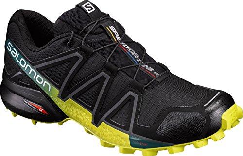 Salomon Men's Speedcross 4 Trail Runner, Black/Everglade/Sulphur