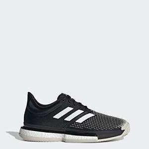 adidas Men's SoleCourt Boost Clay Tennis Shoe, Black/White/raw White