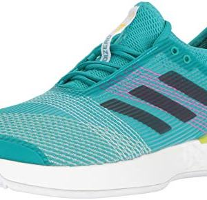 adidas Men's Adizero Ubersonic 3 Tennis Shoe, white/legend ink/shock yellow