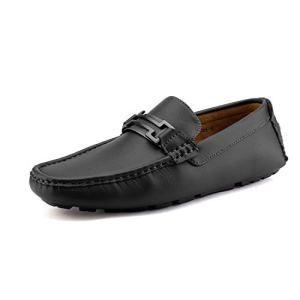 Bruno Marc Men's Hugh-01 Black Faux Leather Driving Penny Loafers Boat Shoes