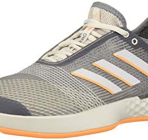 adidas Men's adizero Ubersonic 3 Tennis Shoe, Grey/grey/flash Orange