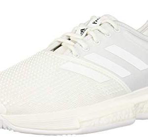 adidas Men's SoleCourt Boost X Parley Tennis Shoe, White/White/Black