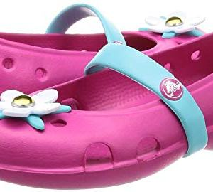 Crocs Girls' Keeley Charm Flat Ballet, candy pink