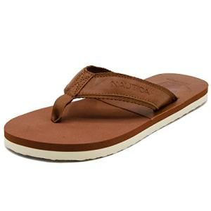 Nautica Men's Flip Flops Light Comfort Beach Sandal, Flat Thong Slides-Masson-Tan