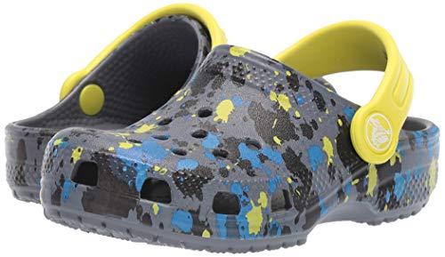 Crocs Kid's Classic Printed Neon Splatter Clog, Charcoal/Citrus