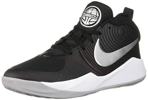 Nike Unisex-Kid's Team Hustle D 9 (GS) Sneaker, Black/Metallic Silver-Wolf Grey