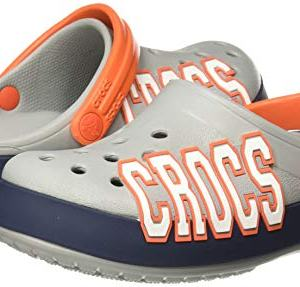 Crocs Kid's Crocband Logo Clog, Light Grey/Navy