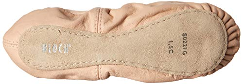 Bloch Dance Girl's Belle Full-Sole Leather Ballet Slipper/Shoe, Pink Soft, molding leather upper Plush elastic on the top line of the shoe replaces the need for draw cord Full suede outsole for building foot muscles Printed heart sock-liner inside the shoe Pre-sewn elastic over the instep Sizing: Start with 1/2 size up from girl's street shoe Beginners leather full sole ballet shoe features a no drawstring elastic binding, pre-sewn elastic strap across the top of the foot and a heart print lining.