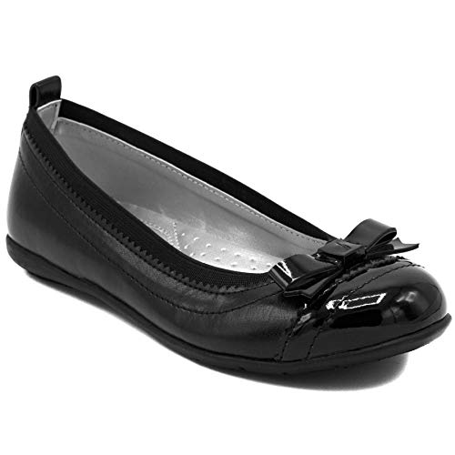 Nautica Girls Flat Mary Jane Oxford School Shoe, Black Bow