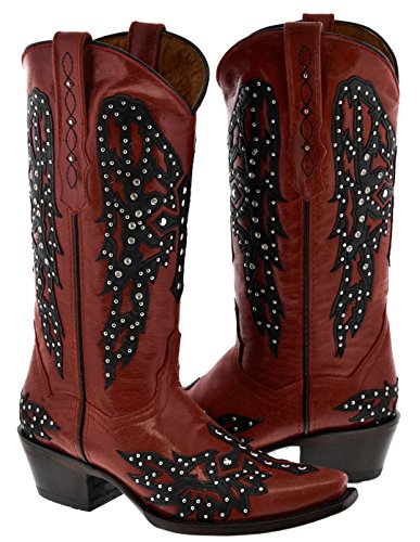 Cowboy Professional - Women's Red Wings Design Studded Rhinestones Leather