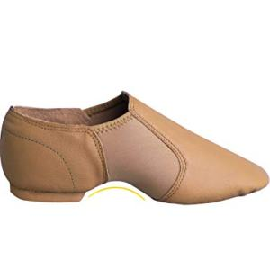 Daydance Tan Jazz Dance Shoes Leather Slip-Ons Inserted