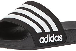 adidas Men's Adilette Shower Slide Sandal, White/Black
