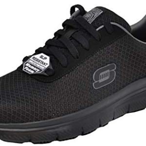 Skechers Men's Flex Advantage Bendon Work Shoe, Black/Charcoal