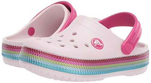 Crocs Kids' Crocband Sequin Band Clog, Barely Pink